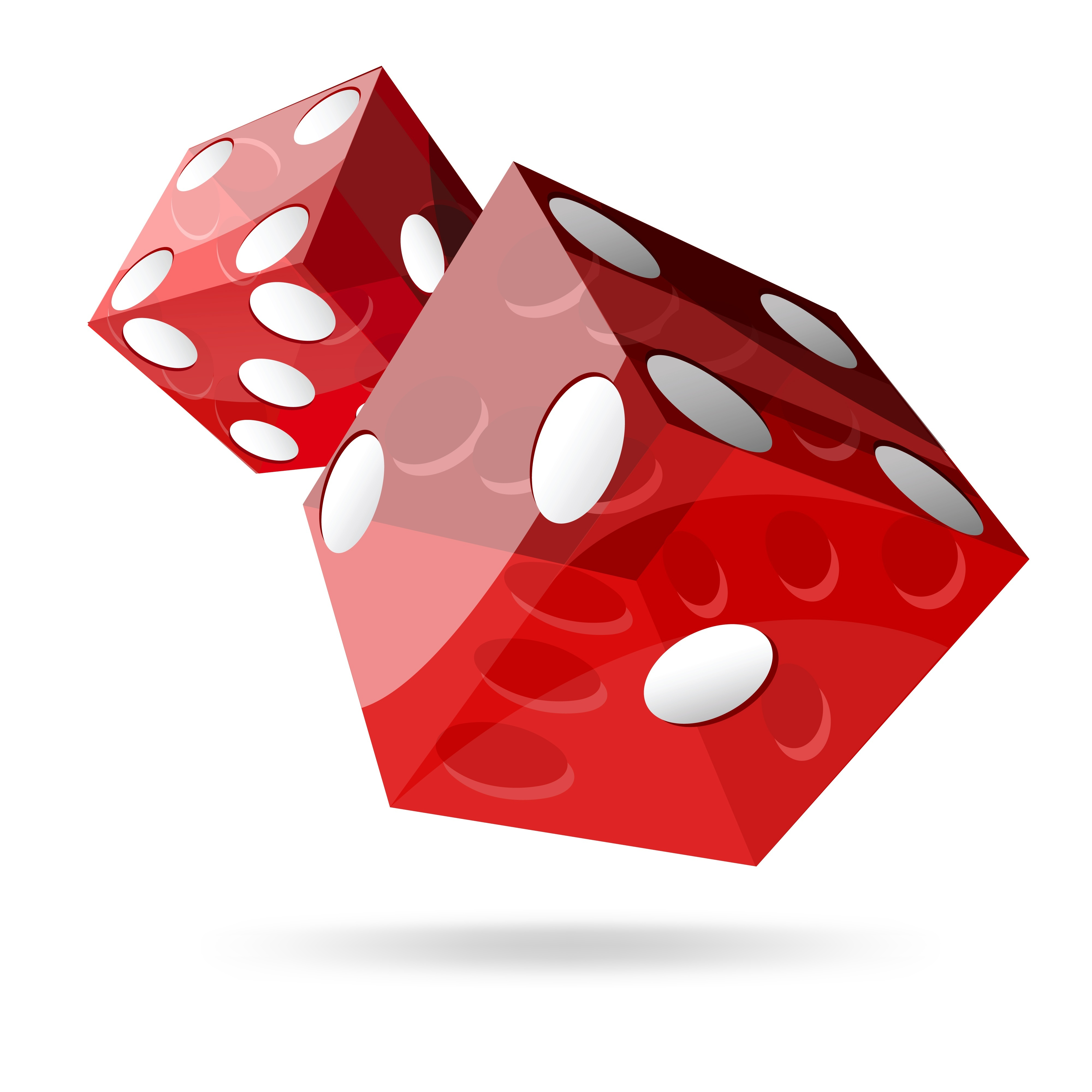 12819924 - two red dice cubes on white background